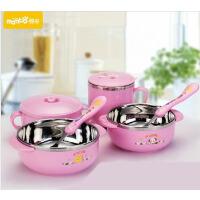 蔓葆宝宝儿童餐具保温碗不锈钢碗婴儿碗餐具吸盘碗套装