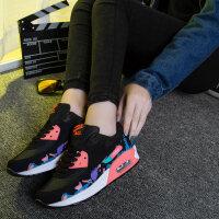 货到付款 女透气跑步鞋新款网面鞋女鞋厚底运动鞋女轻便内增高鞋旅游鞋复古跑鞋休闲运动鞋女