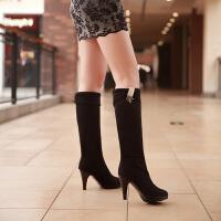 彼艾2016秋冬新款女靴绒面水钻女靴子 高跟细跟两穿防水台黑色长靴子女靴子