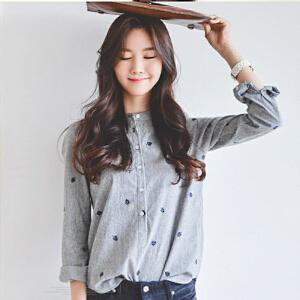 波柏龙 早春韩版小清新条纹立领衬衣 树叶刺绣显瘦长袖打底衬衫