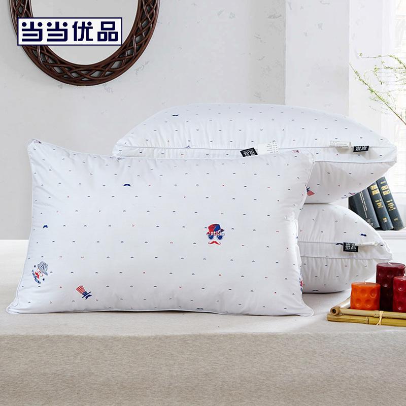 当当优品 低中高精梳棉立体羽丝绒枕头 高款1200g 48*74cm当当自营 100%纯棉印花面料 舒适透气 柔软亲肤