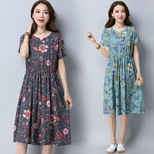 波柏龙 2017春夏装新款棉麻连衣裙两件套装裙子显瘦中长款女裙夏