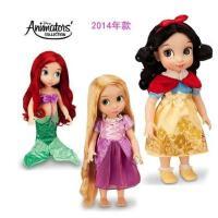 迪士尼冰雪奇缘Disney沙龙娃娃玩具40cm 洋娃娃白雪公主 正品迪士尼Disney动画师沙龙娃娃美人鱼长发贝尔白雪公主女孩玩具