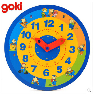 木制早教时钟板 早教认知儿童益智玩具时间幼儿园教学_小熊时钟板