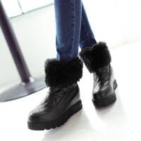 彼艾2016秋冬新款高跟短筒靴舒适女式毛毛靴内增高厚底女靴子短靴女鞋子