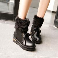 彼艾2016秋冬季甜美学院风厚底平跟短靴 系带保暖雪地靴 加厚毛毛女式靴子