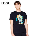 NSNF纯棉卡通图案黑色短袖T恤 2017年春夏新款