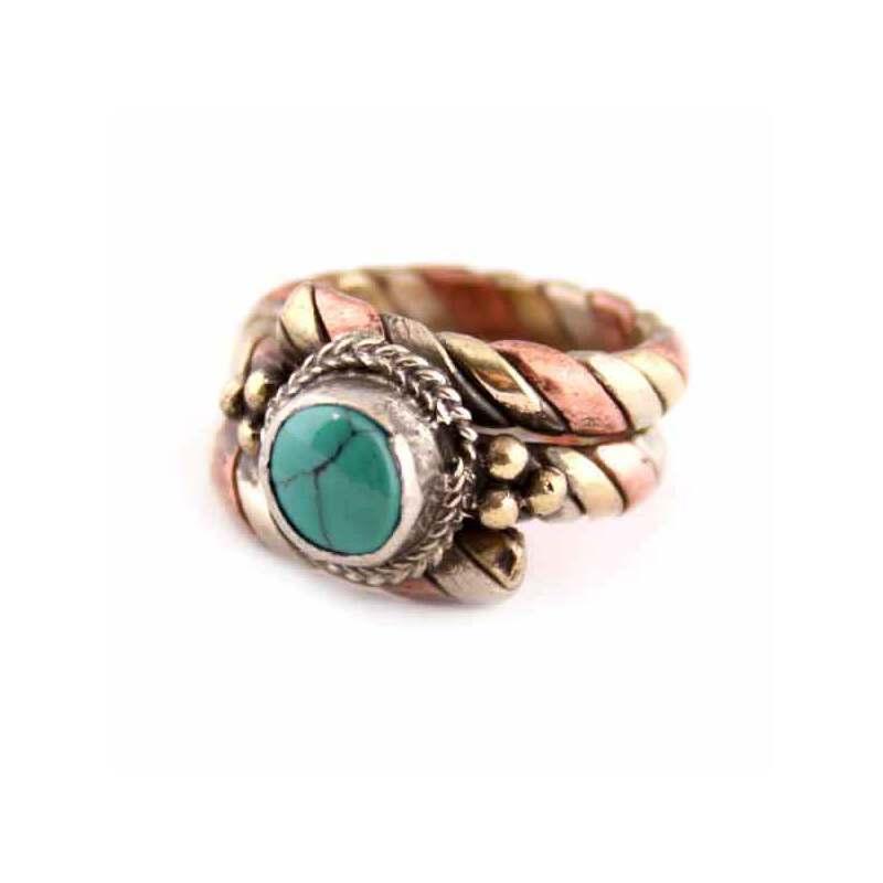 镶绿宝石三色金蛇形戒指hyl
