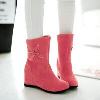 彼艾2016秋冬新款韩版磨砂短靴女内增高圆头棉靴甜美花朵套筒女雪地靴女靴子