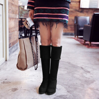 彼艾2016秋冬季新款女式过膝长靴 瘦腿粗跟高跟水钻长筒弹力靴高筒靴骑士女靴子