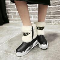 彼艾2016秋冬厚底平跟内增高保暖雪地靴防水台防滑毛毛短靴甜美学生雪地靴女靴