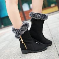 彼艾2016秋冬新款中筒靴雪地靴毛毛靴棉鞋女鞋子坡跟磨砂侧拉链毛毛靴学生靴女靴子