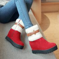 彼艾2016秋冬季新款毛毛靴雪地靴皮带扣超高跟坡跟防水台厚底PU甜美保暖短筒女靴短靴子