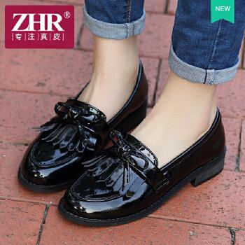 ZHR2016春季新款甜美浅口单鞋女韩版真皮平底鞋子休闲鞋女鞋潮D50