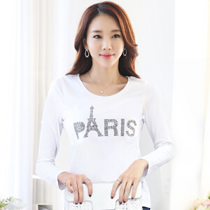 波柏龙 长袖T恤女长袖春季韩版修身打底衫内搭女装上衣纯棉圆领纯白色