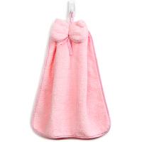 [当当自营]三利 珊瑚绒蝴蝶结挂式擦手巾 加厚不掉毛强吸水 浴室厨房居家多用途抹手毛巾 30×44cm 桃粉色