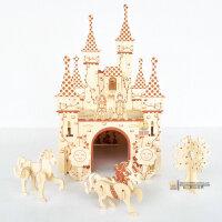 木制拼装积木儿童智力玩具6-7-10岁以上女孩开智拼接木头城堡jimu