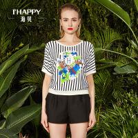 海贝 夏季新款T恤女夏 时尚条纹印花短袖上衣