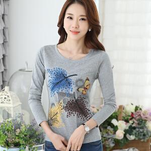 波柏龙 长袖T恤女春天韩国修身体恤tshirt内搭修身显瘦气质女装上衣潮