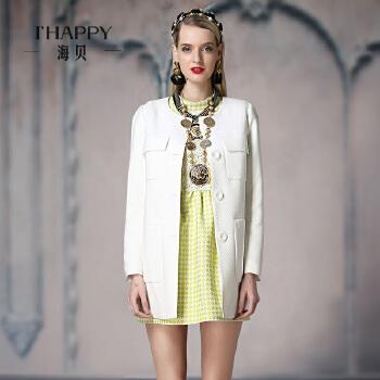 海贝 春装新款风衣女 欧美风巴洛克格纹纯色中长款风衣外套