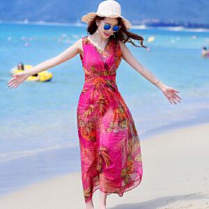 香衣宠儿 2015夏季海边印花长裙连衣裙潮 海滩度假背心裙子 V领波西米亚沙滩裙177-875