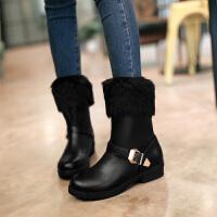 彼艾2016秋冬韩版新款女式雪地靴马丁靴皮带扣粗跟圆头鞋低跟中筒靴厚底毛毛短靴女靴子