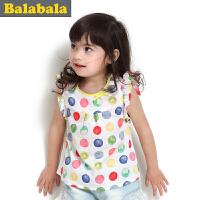 巴拉巴拉童装女童波点飞袖背心幼童宝宝纯棉上衣儿童夏装新款