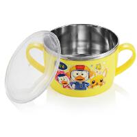 宝露露小企鹅婴儿儿童餐具 卡通不锈钢保温隔热汤碗 带PP碗盖550ml