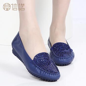 春季新款平底鞋女单鞋平跟妈妈鞋真皮低跟休闲中老年女鞋皮鞋2286-1