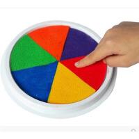 手指画印泥彩色儿童画幼儿印台颜料无毒可水洗手印画安全无毒圆形