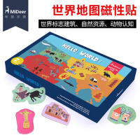 Mideer弥鹿 世界地图磁力贴 磁性拼图冰箱贴亲子宝宝早教认知玩具