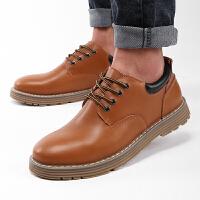 货到付款 路屋 男士休闲皮鞋大头鞋真皮英伦百搭耐磨皮鞋男商务休闲鞋工装鞋鞋