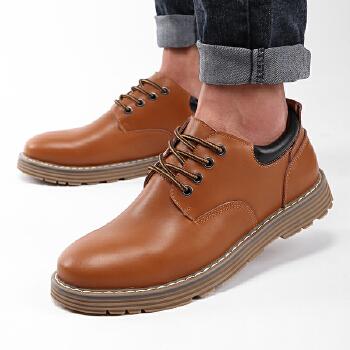 货到付款 路屋 2016男士休闲皮鞋大头鞋真皮英伦百搭耐磨皮鞋男商务休闲鞋工装鞋鞋