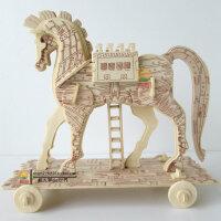3D木质木制动物积木成人立体拼图 木头拼装模型智力玩具精工木马 益智成人3d拼图玩具木质立体拼图 智力手工拼装木制积木马车模型