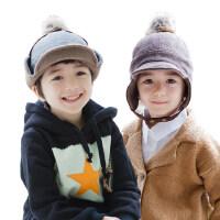 kocotree儿童帽子男童小孩护耳毛绒帽宝宝保暖男生套头帽秋冬款潮