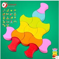可来赛 儿童益智梦幻积木 七巧板 木质木制儿童早教益智力拼图