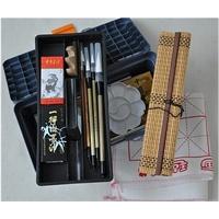 12 18 24色国画颜料套装工具17件套装 画笔笔墨纸砚俱全 书法毛笔练习