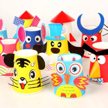 新年礼物动物纸杯材料包批发幼儿园手工挂件吊饰diy