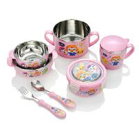 ABS儿童餐具宝宝保温不锈钢碗婴儿汤碗勺叉训练学习筷子套装