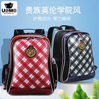 2016新款台湾unme小学生书包3-6年级男女童减负护脊双肩包儿童背包英伦风格