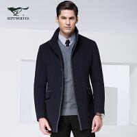 【七匹狼毛呢大衣】 秋冬新品 男士时尚休闲中长装呢子大衣外套 男装 7064688