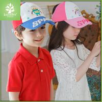儿童遮阳帽男夏天女童帽子2-4-6岁宝宝空顶帽夏季大檐潮