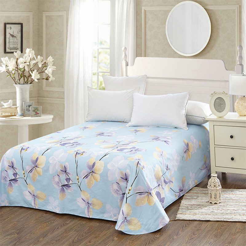 当当优品 纯棉斜纹床上用品 床单180*230cm 恬静优雅(蓝)当当自营 100%纯棉 不易褪色 0甲醛 透气防潮