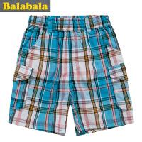 巴拉巴拉童装男童纯棉时尚格子短裤幼童宝宝裤子儿童装新款潮