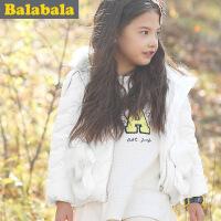 5.25抢购价:140元 巴拉巴拉童装女童羽绒服短款中大童纯色2015冬装新款儿童外套连帽