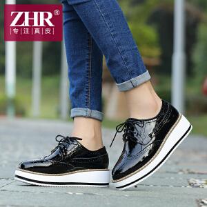 ZHR2017春季新款英伦风厚底松糕鞋布洛克单鞋坡跟休闲鞋女鞋E39
