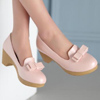 巫卡卡春夏新款韩版2015高跟小圆头浅口单鞋蝴蝶结装饰粗跟套脚舒适百搭女鞋