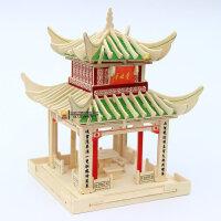 益智木质拼图玩具成人立体拼图建筑模型智力手工diy拼装木头亭