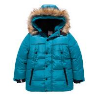 巴拉巴拉 男童中长款羽绒服 休闲加厚带帽拉链儿童 冬装新款