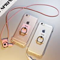 气囊防摔iPhone6手机壳硅胶透明苹果6plus保护套6S全包挂绳指环软气囊防摔iPhone5手机壳硅胶透明苹果se保护套5S全包挂绳指环软
